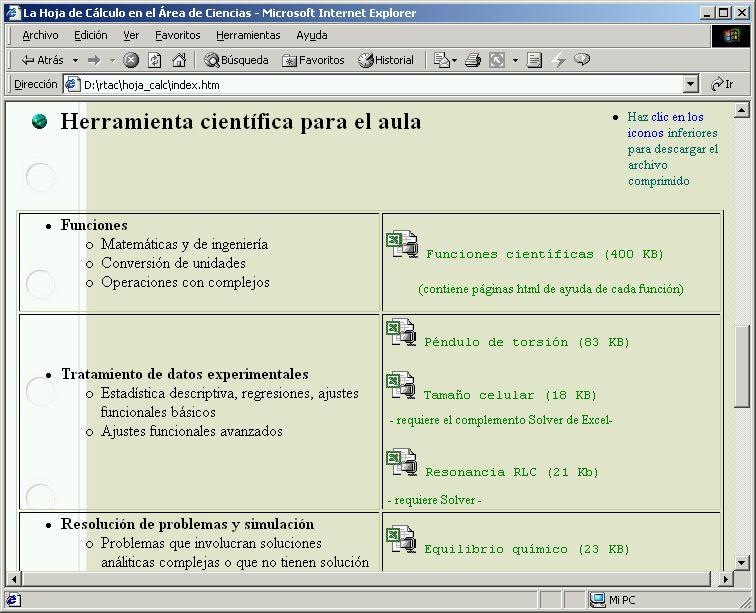 La hoja de cálculo como herramienta del área de Ciencias