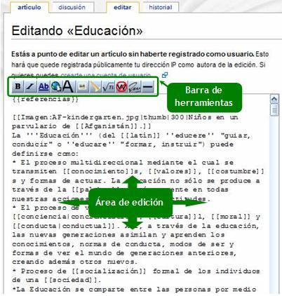 c6914b1bd797 El editor de wikitextos consta de una típica barra de herramientas de  edición, e inmediatamente debajo, se encuentra el cuadro de texto donde se  escribe el ...