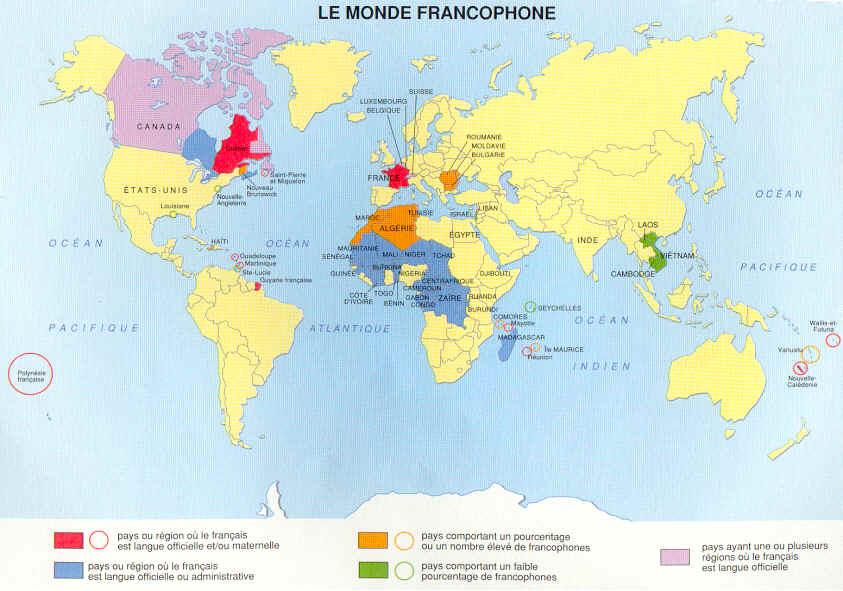 Bleu : paysoù le français est langued'enseignement