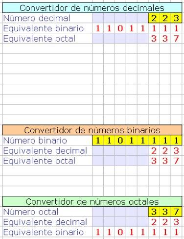 Hoja de cálculo: sistemas binarios