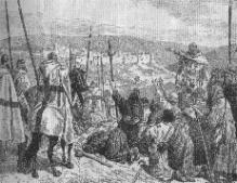 Peregrinos ante Jerusalén, escoltados por los Templarios.