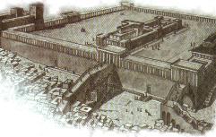 Representación ficticia de lo que pudo ser el magnífico templo eregido por Salomón, rey de Israel , alrededor del año 976 a.c.