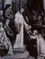 San Bernardo entrega la Regla a Hugo de Payns en el Concilio de Troyes